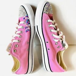 Converse All Star Women Size 9 Pink Glitter Low Top Sneakers Lace Up Custom Made $39.99