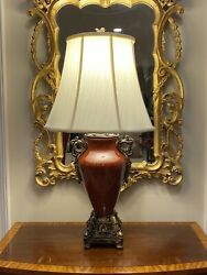 Tall Impressive Chinese Porcelain Lamp: Rich Burgundy With Cast Details $249.00