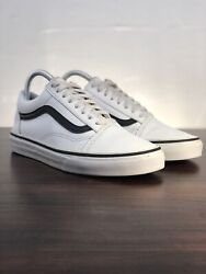 Vans Off the Wall White Black Leather Skateboard Shoe Women's Size 8 $29.99