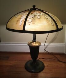 Bradley and Hubbard Early 1900s Reverse Painted 6 Paneled Shade Lamp $695.00