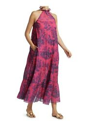 """NWT Authentic RHODE """"Julia """" Tiered Halter Midi Dress Sz XS Sold Out $295.00"""