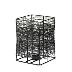 Large Dark Metal Wire Thatched Rectangular Unique Intricate Pattern Candle Stand $24.51