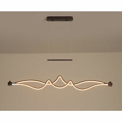 Modern Linear Chandelier Ceiling Lamp LED Light Dimmable Hanging Decor W Remote $69.35