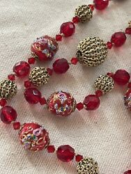 """Vintage Red Glass Murano Wedding Cake Ladies Cocktail Necklace 34"""" $66.00"""