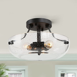 LALUZ Semi Flush Mount Ceiling Light Modern Fixture with Seeded Glass for Dining $44.56