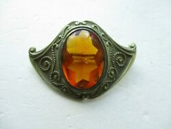 Antique Arts and Crafts Amber Colored Stone Pin $22.50