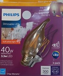 Pack of 5 40 Watt Philips Bulbs Soft White Dimmable Warm Glow Candle LED