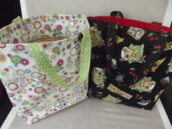 2 Handmade Fabric Gift Bags Totes Mary Engelbreit Prints Handles Re Usable $19.99