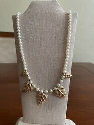 vintage 14K 585 Pearl Gold Bead Necklace With leaves Gold $500.00