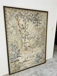 """Large 72""""X58"""" Framed French Antique Bird Tapestry From The 1930's Or Earlier. $1000.00"""