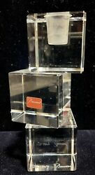 BACCARAT CLEAR CRYSTAL INTANGIBLE CUBE CANDLEHOLDER $250.00