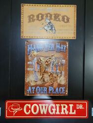 Cowgirl amp; Rodeo amp; Hang Yer Hat wall sign set Cowboy and Western decor $19.00
