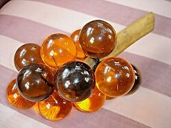 Vintage Mid Century Modern Clear Amber Lucite Bunch of Large Grapes $22.50