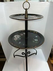 Vintage Tole Serving Tray Hand Painted Flowers Metal 2 Tier 28 quot; Tall x14 $49.99