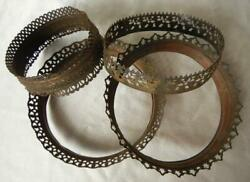 Lot of 4 Antique Hanging Oil Lamp Reticulated amp; Embossed Brass Shade Crowns $39.95