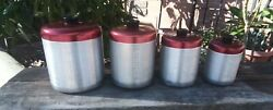Rare VINTAGE quot;CENTURYquot;ALUMINUM WARE USA CANISTER SET With Red Tops $149.00
