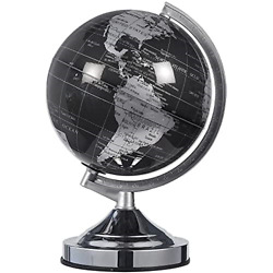 8 Inch Black and Silver World Globe Spinning Rotating Desktop Globe w Stand $24.96