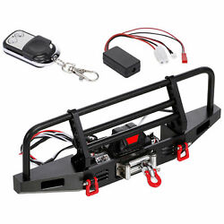 RC Metal Front Bumper w LED Light RC Winch for Hsp Axial Scx10 1:10 RC Car $51.02