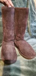 BEAR PAW Women's Size 7 Classic BROWN Suede Tall Leather Wool Lined Boots $16.50