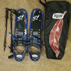 Redfeather Snowshoes 30quot; with poles in good condition carrying bag blue $49.00
