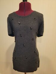 Loft by Ann Taylor Grey Top with Jewel Design Size M $12.00