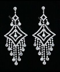 4.25quot; Bridal Prom Pageant Crystal Chandelier Earrings $14.99