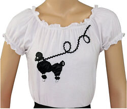 New 50s Style White Peasant Blouse with Poodle for Poodle Skirts Adult Size XL $21.95