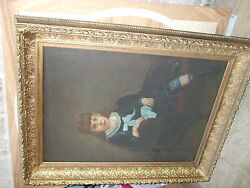 FINE LARGE VICTORIAN OIL PAINTING YOUNG GIRL PORTRAIT ORNATE GILDED FRAME $1950.00