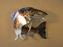 TROUT RAINBOW BROWN FISH FISHING METAL STEEL WALL ART LOG HOME CABIN LODGE DECOR