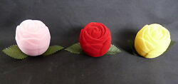 NOVELTY ROSE BUD RING EARRING BOX PINK RED OR YELLOW GBP 3.50