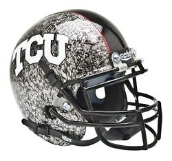 TCU HORNED FROGS ALTERNATE SILVER SLATE REPLICA SCHUTT FULL SIZE FOOTBALL HELMET