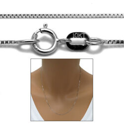Guaranteed Genuine 10K White Gold Box Chain Necklace 0.6mm 16quot; 24quot; $62.98