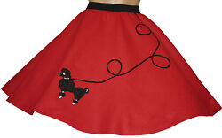 New 4 PC RED 50#x27;s Poodle Skirt Girl Ages 7 8 9 Sz Medium L20quot; $38.95