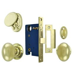 Classic Solid Brass Plain Exterior Entry Door Knob Lock Set (L23ENT2)