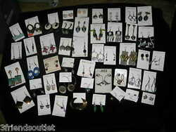 VARIOUS PIERCED EARRINGS Sterling Silver & other metals Studs hoops Dangles