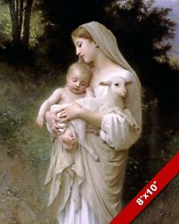 L'INNOCENCE MARY amp; LAMB CHRIST BY WILLIAM ADOLPH CHRISTIAN ART REAL CANVAS PRINT $12.99