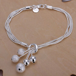 Unisex Women 925 Sterling Silver Beads Bracelet  Size 8 Inches 2.4MM Lobster L12