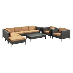 All Weather Outdoor Patio Sectional Sofa Chairs Tables Ottoman Conversation Set