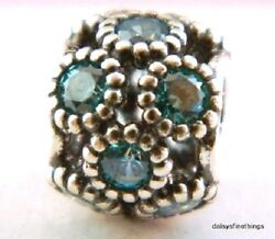 NWT AUTHENTIC PANDORA SILVER CHARM TEAL STUDDED LIGHTS #791296MCZ  RETIRED