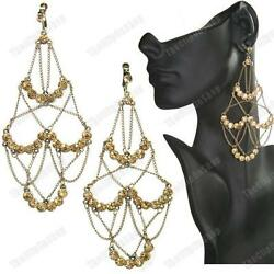 5quot;long BIG CRYSTAL large CHANDELIER EARRINGS vintage brass GOLD AMBER TOPAZ GBP 3.99
