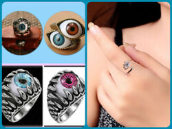 Bronze BlueBrown Eye Acrylic Eyeball Ring Silver Ring PinkBlueBrown Eyeball $9.88