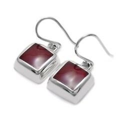 925 Sterling Silver Square Red Jasper Hanging Earrings