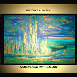 ORIGINAL LARGE ABSTRACT CONTEMPORARY MODERN ART PAINTING Blue Gold 36x24quot; JLEIGH $829.00