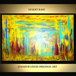 ORIGINAL LARGE ABSTRACT CONTEMPORARY MODERN ART PAINTING Yellow 36x24quot; JLEIGH $529.00