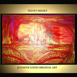 ORIGINAL LARGE ABSTRACT MODERN ART PAINTING Red Gold Pink 36x24quot; JLEIGH $789.00