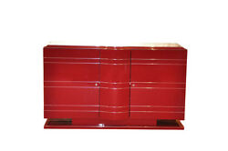 Exclusive Art Deco Dresser Chrome Liner In Red