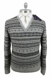 Ralph Lauren PL 100% Cashmere XL Men's V-Neck Sweater Gray Fair Isle Knitted