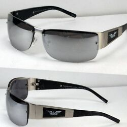 New Mens Rectangular Mirrored Lens Sunglasses Shades Wrap Sport Designer Fashion