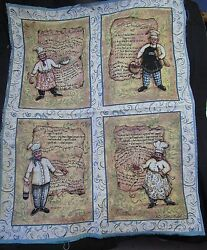 Whimsical Italian Chefs Recipes Kitchen Cook Tapestry Wall Hanging Panel fabric $19.95