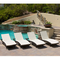 Set of 4 Outdoor Patio Pool Adjustable Wicker Chaise Lounge Chairs w Cushions